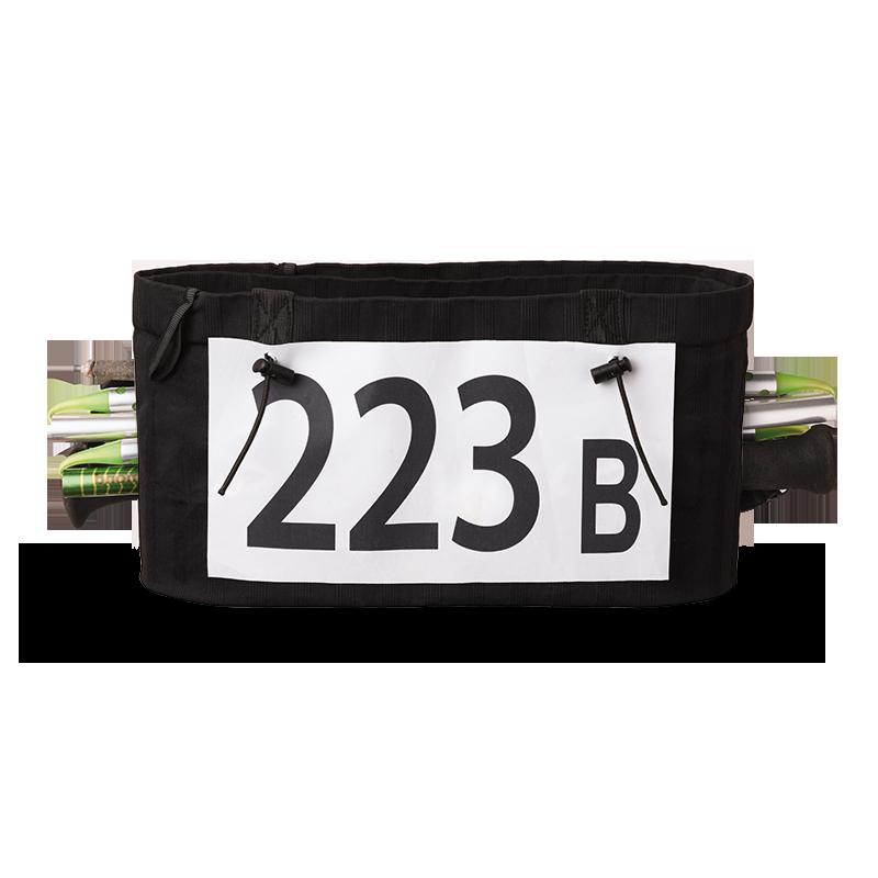 Vue de devant, ceinture de Running Sammie® Evo 2019 en noir avec bâtons pliables et dossard à l'avant