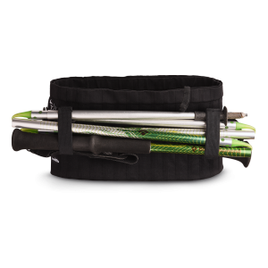 Vue de dos, poche ventrale Sammie Trail noir avec bâtons pliables
