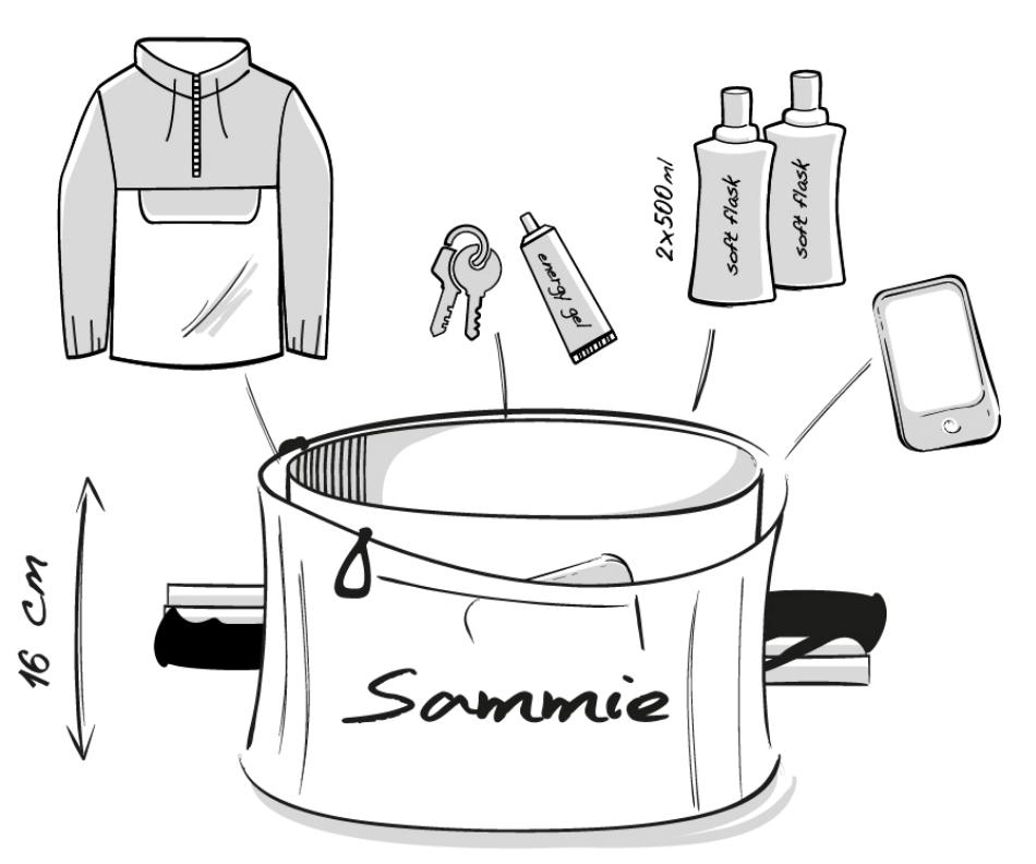 Dessin technique de la ceinture de Running Sammie® Trail