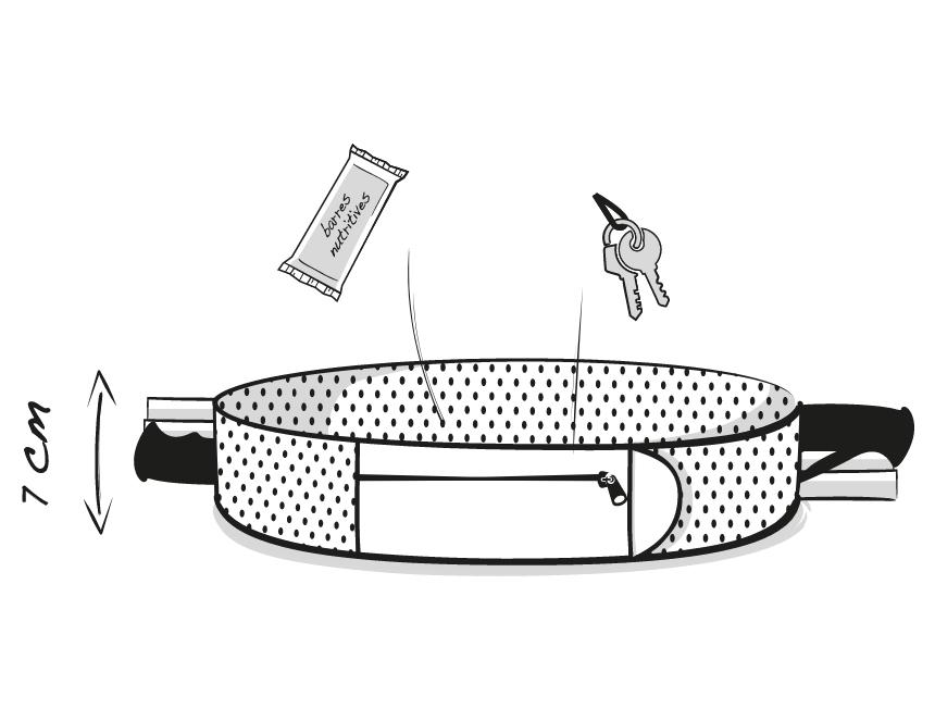 Dessin technique de la ceinture de Running Sammie® Ultra